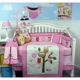 Soho Designs Pink Owl Tree Party Baby Crib Nursery Bedding Set 14 pcs included Diaper Bag with Changing Pad, Accessory Case &amp; Bottle Case at Sears.com