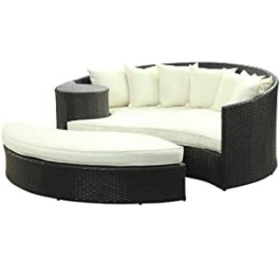 LexMod Taiji Outdoor Rattan Daybed with Ottoman, Espresso with White Cushions at Sears.com