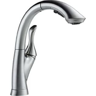 Delta Faucet 4153-AR-DST Linden Single Handle Water-Efficient Pull-Out Kitchen Faucet, Arctic Stainless at Sears.com