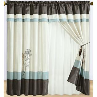 Scotts-sales Portland Aqua Blue Curtains 2 x Panels 60x84&amp;#34;ea. with Valance at Sears.com