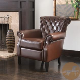 AT HOME by O Christopher Knight Home Franklin Brown Tufted Bonded Leather Club Chair at Sears.com