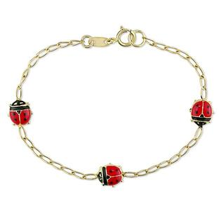 Eziba Collection Miadora 14k Yellow Gold Ladybug Charm Baby Bracelet at mygofer.com