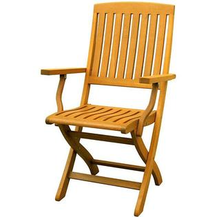 Overstock.com Royal Tahiti Yellow Balau Wood Folding Arm Chair (Set of 2) at mygofer.com