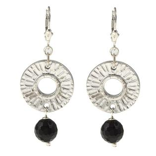 Eziba Collection Charming Life Silvertone Onyx Radiant Sun Earrings at mygofer.com