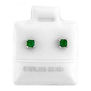 LGU Silver May Birthstone Emerald Princess Cut Stud Child Earrings at Sears.com