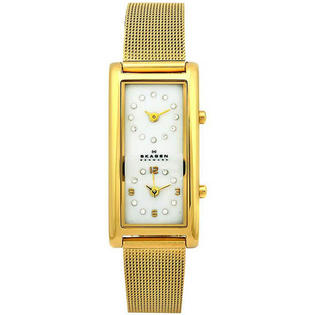 Skagen Gold Tone Stainless Steel Mesh Quartz Dual Time Mother Of Pearl Crystals at Sears.com