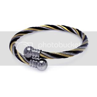 Forever Flawless 5.4mm Tri Color Stainless Steel 5 row Ion Cable Bangle Bracelet with Round Ball End - One Size at Sears.com