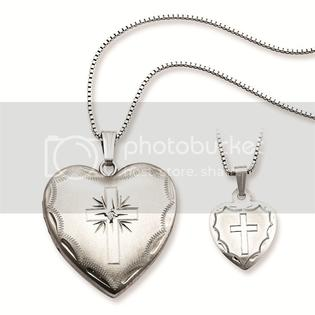 Forever Flawless Just Like Mommy Collection Sterling Silver Shining Christian Cross 0.01 ct Solitaire Heart Locket Necklace Set 14&amp;#34; &amp; 18&amp;#34; at Sears.com