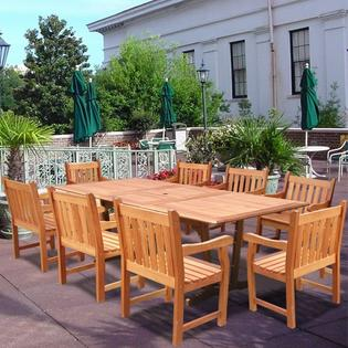 Vifah 9 Piece Rectangular Extension Patio Table &amp; 8 Slat Back Patio Chairs at Sears.com