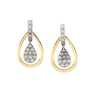 katarina 14K Two Tone Gold 1/4 ct. Diamond Dangle Earrings at Sears.com