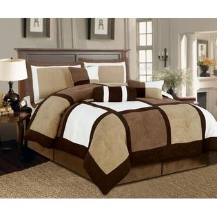 Textiles Plus Inc. Microsuede Patchwork Bed in a Bag 7 PC Comforter Set - Size: King, Color: Brown/White at Sears.com