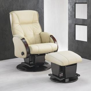 Dutailier 214 Monaco Glider with Closed Base - Dome: Metal, Finish: 16 - Chestnut, Fabric: 4088 - Sage Microfiber at Sears.com