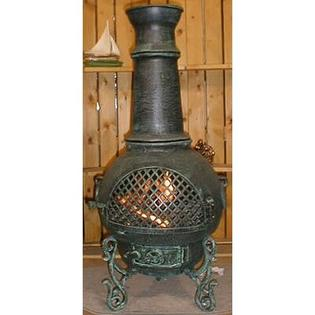 THE BLUE ROOSTER Gatsby Style Chiminea with Gas Kit and Cover - Chiminea Color: Antique Green at Sears.com