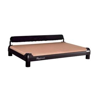 DoggySnooze SnoozeSleeper Dog Bed with Long Legs and a Black Anodized Frame - Size: Large (28&amp;#34; L x 44&amp;#34; W), Color: Tan, Bolster Color: Red at Sears.com