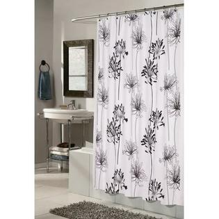 CARNATION HOME FASHIONS Cologne 100% Polyester Fabric Shower Curtain with Flocking - Color: White and Black at Sears.com