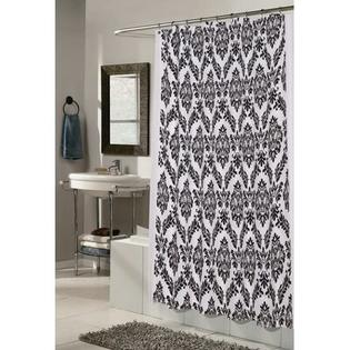 CARNATION HOME FASHIONS Regal 100% Polyester Fabric Shower Curtain with Flocking - Color: White and Black at Sears.com