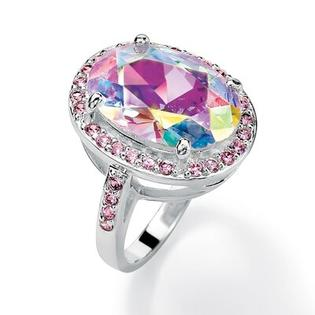 Palm Beach Jewelry Sterling Silver Aurora Borealis and Pink Cubic Zirconia Ring - Size: 8 at Sears.com