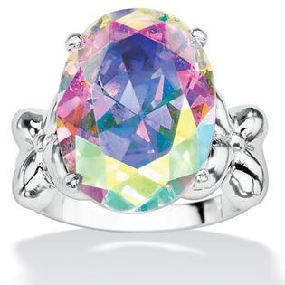 Palm Beach Jewelry Silvertone Aurora Borealis Cubic Zirconia Ring - Size: 10 at Sears.com