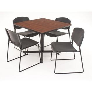 Regency Hospitality Four Zeng Chairs with Square Table - Chair Color: Black Plastic, Finish: Cherry/Maple, Table Orientation: Square at Sears.com