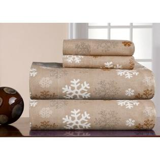 Pointehaven Heavy Weight Printed Flannel Sheet Set in Snow Flakes - Size: King, Color: Oatmeal at Sears.com