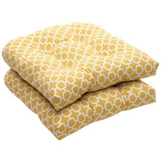 Pillow Perfect Outdoor Wicker Seat Cushion (Set of 2) - Color: Yellow/White Geometric at Sears.com