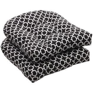Pillow Perfect Outdoor Wicker Seat Cushion (Set of 2) - Color: Black/White Geometric at Sears.com