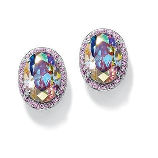 Palm Beach Jewelry Aurora Borealis and Pink Cubic Zirconia Earrings at Sears.com
