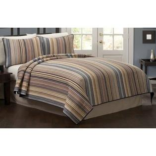 American Traditions Morning Stripe Quilt with Two Shams - Size: Full / Queen at Sears.com
