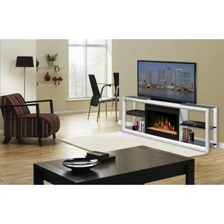 Dimplex Novara 64&amp;#34; TV Stand with Electric Fireplace - Finish: White with Glass Ember Bed at Sears.com