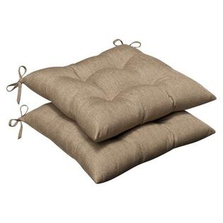 Pillow Perfect Outdoor Sunbrella Fabric Tufted Seat Cushion (Set of 2) - Color: Tan Textured Solid at Sears.com