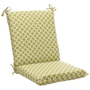 Pillow Perfect Outdoor Squared Chair Cushion - Color: Green/White Geometric at Sears.com