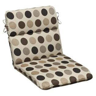 Pillow Perfect Outdoor Rounded Sunbrella Fabric Chair Cushion - Color: Brown/Beige Polka Dot at Sears.com