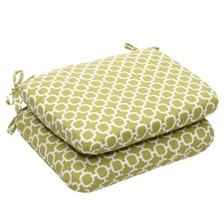 Pillow Perfect Outdoor Rounded Seat Cushion (Set of 2) - Size: 15.5&amp;#34; W x 18.5&amp;#34; D, Color: Green/White Geometric at Sears.com