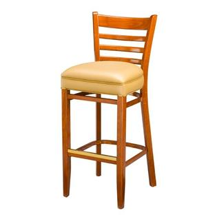 Regal Beechwood 30&amp;#34; Ladder Back Padded Wood Barstool -Finish:Natural, Upholstery:El Diego Black Vinyl (Grade 2), Kickplate:No Kickplat at Sears.com