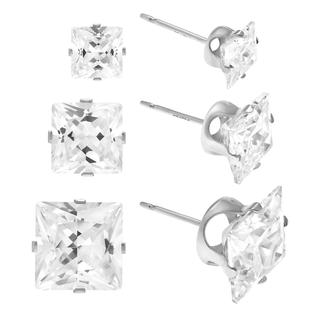 SilverBin Sterling Silver Square-cut Cubic Zirconia Earring Set (3 pair) at Sears.com