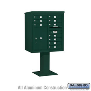 Salsbury Industries 4C Pedestal Mailbox - 9 Door High Unit (62-1/8 Inches) - Double Column - 10 MB1 Doors / 1 PL6 - Green at Sears.com