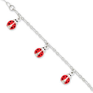 Jewelryweb Sterling Silver Enameled Baby Charm Bracelet - 6 Inch - Lobster Claw at Sears.com