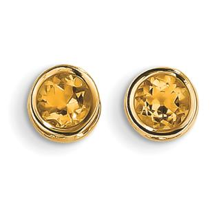 Jewelryweb 14k 5mm Bezel Citrine Stud Earrings at Sears.com