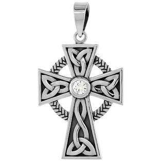 Sabrina Silver Sterling Silver Trinity Celtic High Cross Pendant w/ Single Clear CZ, w/ 18&amp;#34; Thin Box Chain at Sears.com