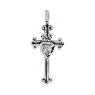 Sabrina Silver Sterling Silver Heart &amp; Crown on Cross Fleury Pendant w/ Clear CZ, w/ 18&amp;#34; Thin Box Chain at Sears.com