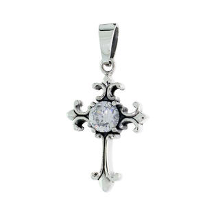 Sabrina Silver Sterling Silver Cross Fleury Pendant w/ Large Clear CZ, w/ 18&amp;#34; Thin Box Chain at Sears.com