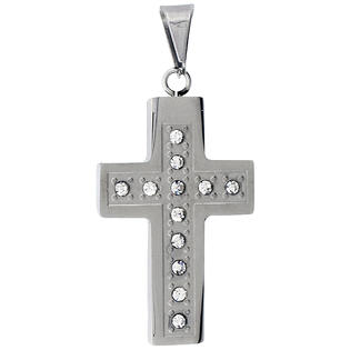 Sabrina Silver Stainless Steel Christian Cross Pendant, w/ CZ Stones, 1 1/2 inch tall with 30 inch chain at Sears.com