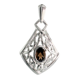 Sabrina Silver Sterling Silver Celtic Quaternary Knot Pendant w/ Natural Smoky Topaz, 1 1/4 inch (32 mm) tall at Sears.com