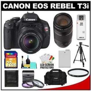 Canon EOS Rebel T3i Camera + EF-S 18-55 IS II Lens + 75-300 III Lens + 32GB Card + Battery + Case + Filter Set + Tripod + Clean Kit at Sears.com