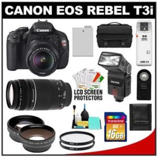 Canon EOS Rebel T3i Camera + EF-S 18-55 IS II Lens + 75-300 Lens + 16GB Card + Flash + Case + Filter + Telephoto/Wide-Angle Lens Kit at Sears.com