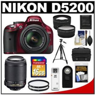 Nikon D5200 Camera + 18-55 G VR DX AF-S Lens (Red) + 55-200 VR Lens + 16GB + Case + Filters + Tele/Wide Lens + Tripod + Remote Kit at Sears.com
