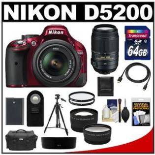Nikon D5200 Camera + 18-55 G VR DX AF-S Lens (Red) + 55-300 VR Lens + 64GB Card + Battery + Case + Tripod + Tele/Wide-Angle Lens Kit at Sears.com