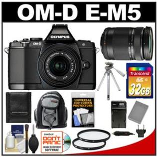 Olympus OM-D E-M5 Micro 4/3 Camera + 14-42 II Lens Black + 40-150 Lens + 32GB + Backpack + Battery + Charger + Tripod + Filters Kit at Sears.com