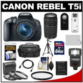 Canon EOS Rebel T5i Camera + EF-S 18-55 IS STM Lens + EF 75-300 Lens + 64GB Card + Battery + Case + Flash + 3 UV/CPL/ND8 Filters Kit at Sears.com