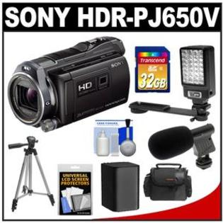 Sony Handycam HDR-PJ650V 32GB  HD Camcorder + Projector  + 32GB Card + Battery + Case + Video Light + Microphone + Tripod + Acc Kit at Sears.com